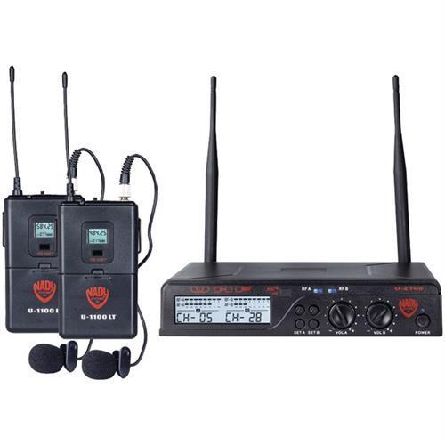 NADY U-2100 LT O (BAND A B) UHF Dual 100-Channel Wireless Lavalier Handheld Microphone... by