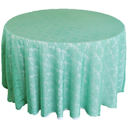 "Wedding Linens Inc. 108"" Lace Table Overlays, Lace Tablecloths Round, Lace Table Overlay Linens, Lace Table Toppers for Wedding Decorations, Events Banquet Party Supplies - Tiffany Blue/Aqua - Tiffany Blue And Grey Wedding"
