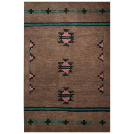 contemporary tribal pattern tan blue wool area rug 5x8. Black Bedroom Furniture Sets. Home Design Ideas