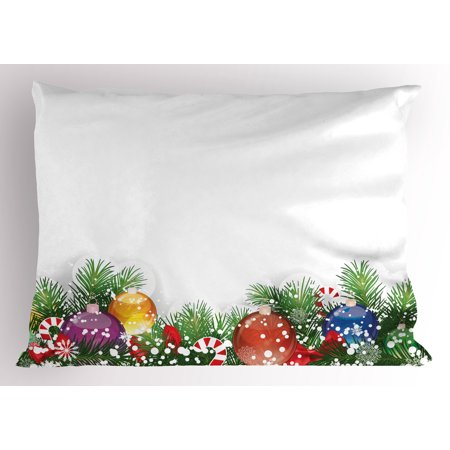 Christmas Pillow Sham Holiday Season Office Festive Design Tree Celebration Snowflakes Celebration, Decorative Standard King Size Printed Pillowcase, 36 X 20 Inches, White Green Red, by Ambesonne](Office Decorate)
