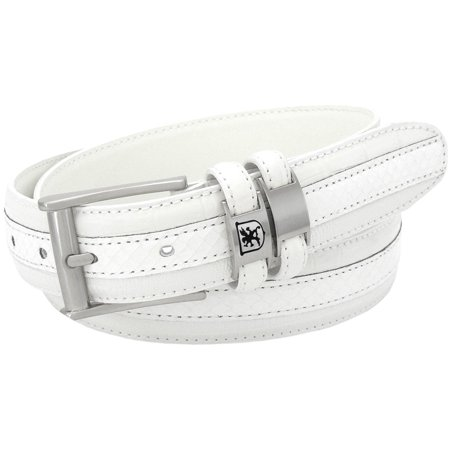 Stacy Adams Belts Stacy Adams 35mm White Tri-Leather Big and Tall Embossed, Croc, Lizard, Snake Belt - Lizard Embossed Casual Belt