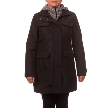 Women's Soft Shell Utility Jacket w/Melange Fleece Vestee and Hood