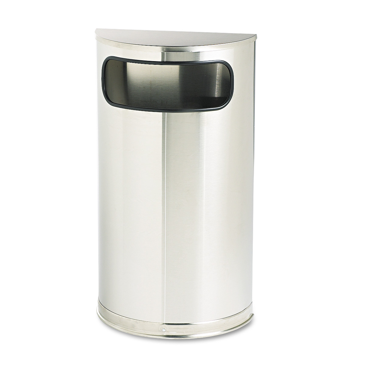 Rubbermaid Commercial European & Metallic Series Receptacle, Half-Round, 9gal, Satin Stainless