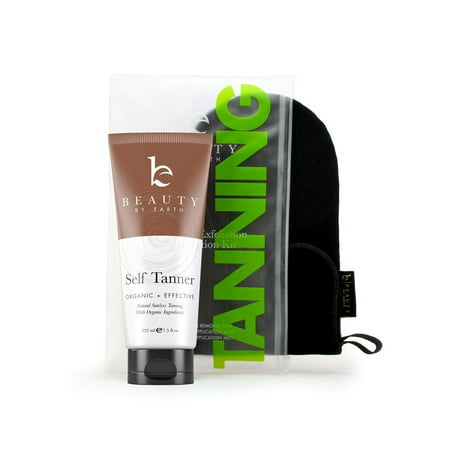 Self Tanner & Tanning Application Kit - Bundle of Sunless Tanning Lotion Made With Natural & Organic Ingredients, Exfoliation Mitt, Body and Face Applicator Glove for a Professional Self Tan ()