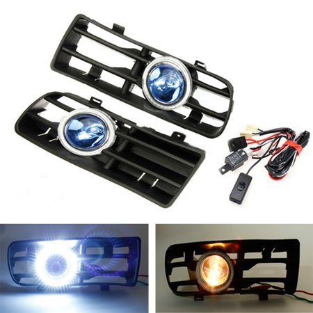 Fog Park Turn Signal Light (12V LED Bumper Grille Fog Light Daytime Running Lamp Driving Running DRL Foglight Turn Signal Indicator White Angel Eye & Wiring Harness ON OFF Switch For VW Golf Mk4 98-04)