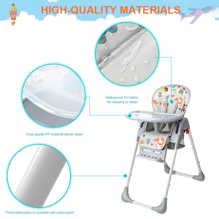 Baby High Chair With Basket, Booster Toddle Highchair, 6-Position Adjustable Seat Height, 3-Position Adjustable Food Tray - image 9 of 12