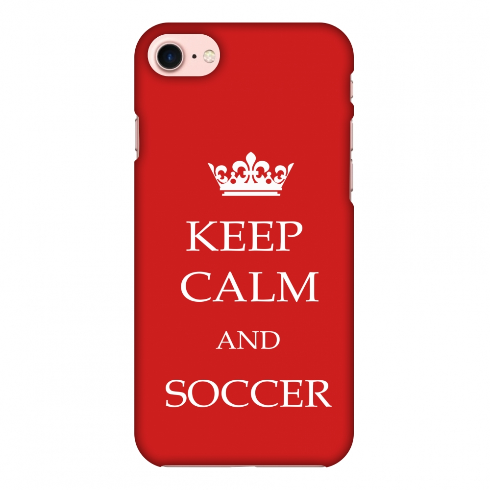 iPhone 7 Case - Soccer - Keep Calm And Soccer - Red, Hard Plastic Back Cover, Slim Profile Cute Printed Designer Snap on Case with Screen Cleaning Kit