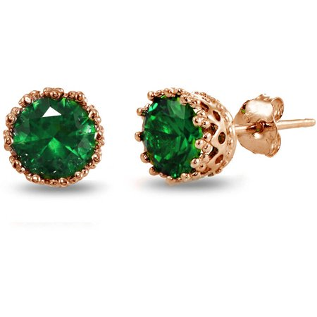 Created Emerald Rose Gold Flashed Sterling Silver Crown Stud Earrings