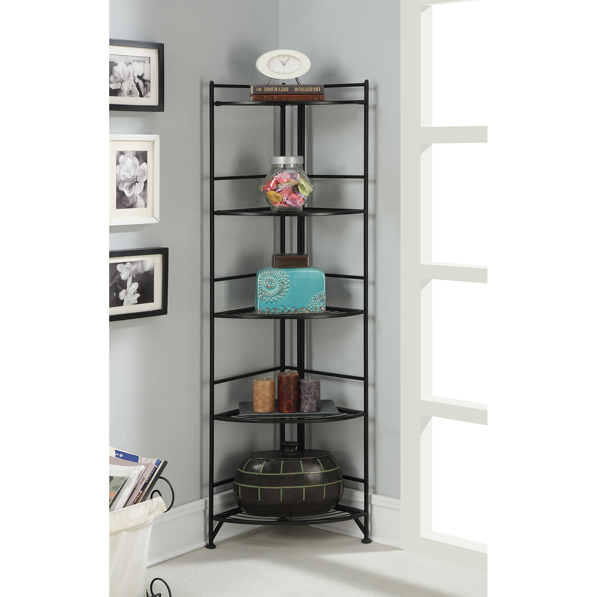 Convenience Concepts Designs2Go 5-Tier Metal Folding Corner Shelf, Black Finish