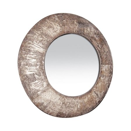 Birch Wood Framed Round Wall Mirror Made Of Wood In Natural Birch Bark Finish - 36-Inch Wall Natural Birch Finish