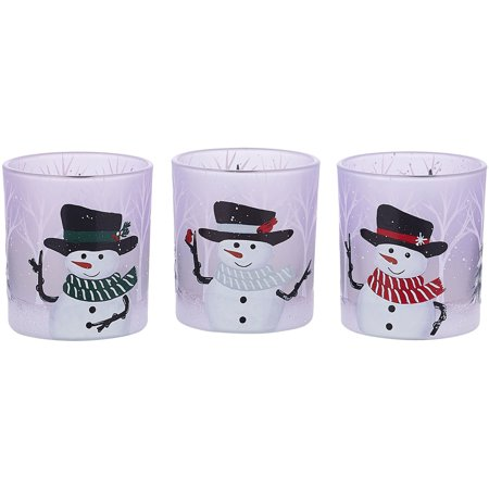 Pavilion Gift Company - Snowman Assorted Tealight Holders, Set of 3