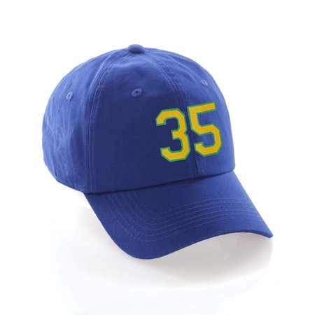 957baab61a6 Custom Dad Hat 00-99 Raised Team Numbers Classic Baseball Cap - Blue Hat  with Green Gold - Walmart.com