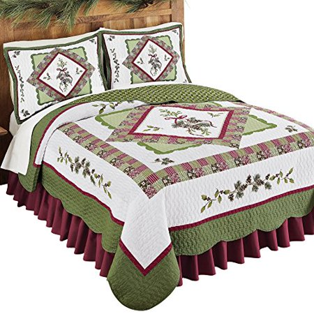 Woodland-Inspired Pinecone Patchwork Quilt Green And Red Full/Queen ()