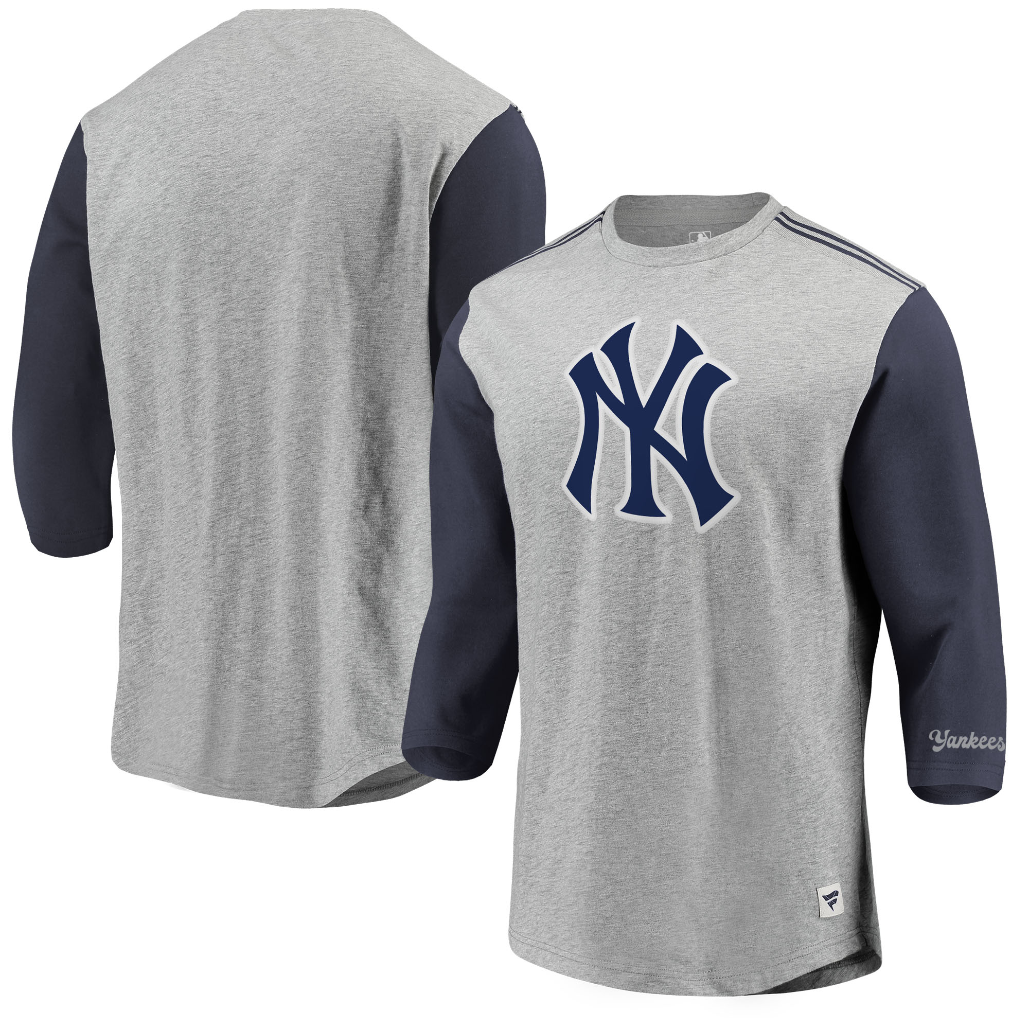 New York Yankees Fanatics Branded MLB Heritage Crew Neck 3/4-Sleeve T-Shirt - Heathered Gray/Navy