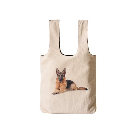 Women German Shepherd Printed Reversible Canvas Handbags WAS_03