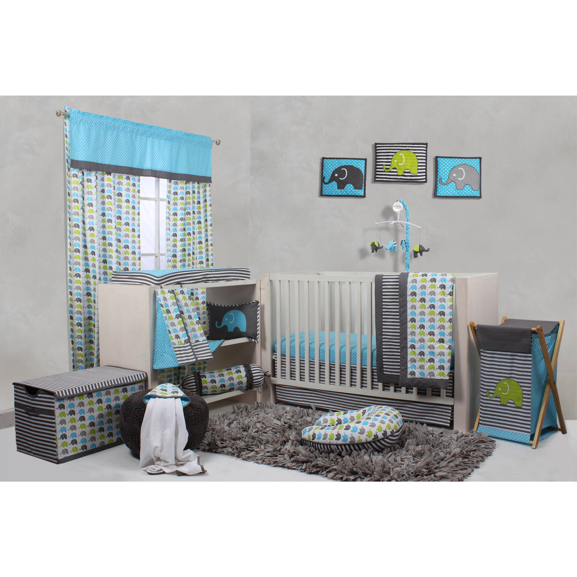 Bacati Elephants 10-Piece Nursery in a Bag Crib Bedding Set (Extra sheet included), for US standard Cribs