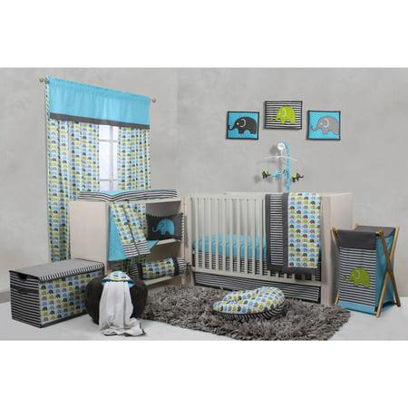 Bacati Elephants 10 Piece Crib Bedding Set Aqua Walmart Com