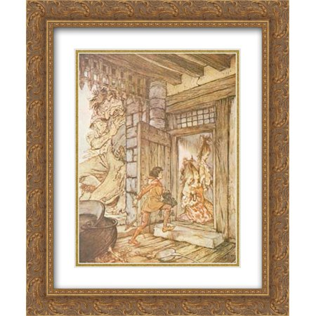 Arthur Rackham 2x Matted 20x24 Gold Ornate Framed Art Print 'Taking the keys of the castle, Jack unlocked all the - Ornate Key