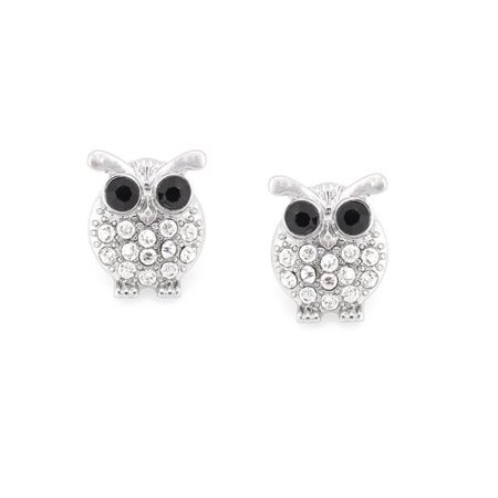 Rhodium-Plated Pave Crystal Owl Button Earrings