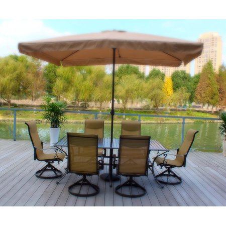 7pc Bronze Cast Aluminum and Swivel Sling Chairs & Slat Top Table with Umbrella (stand not (Sling Bronze)