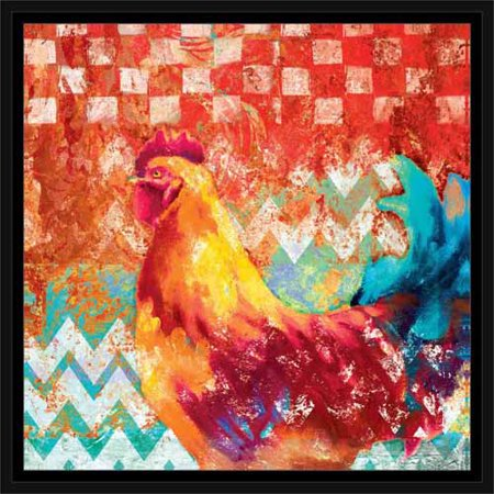 Contemporary Colorful Bright Rooster Chevron Checker Pattern Kitchen Painting Red & Blue, Framed Canvas Art by Pied Piper Creative