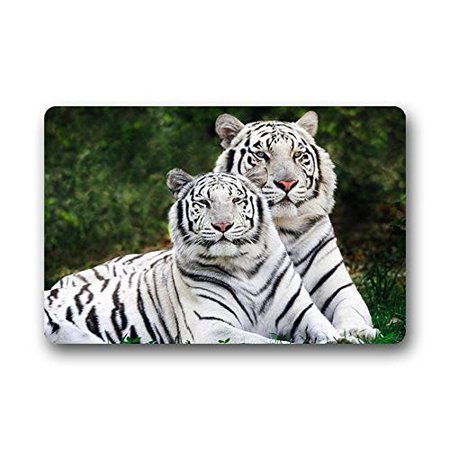 WinHome Bengal White Tiger Doormat Floor Mats Rugs Outdoors/Indoor Doormat Size 23.6x15.7 (Auburn Tigers Door Mat)