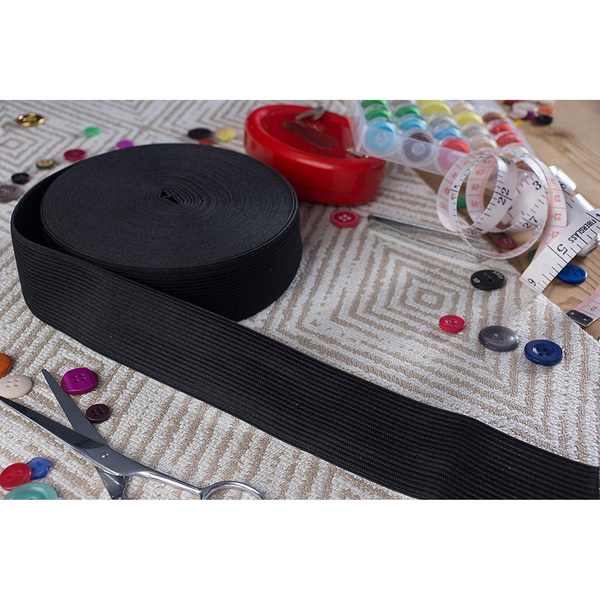 elastic waistband dressmaking elastic sewing supplies 1 Elastic 5m black Black dress elastic UK haberdashery black elastic waistband
