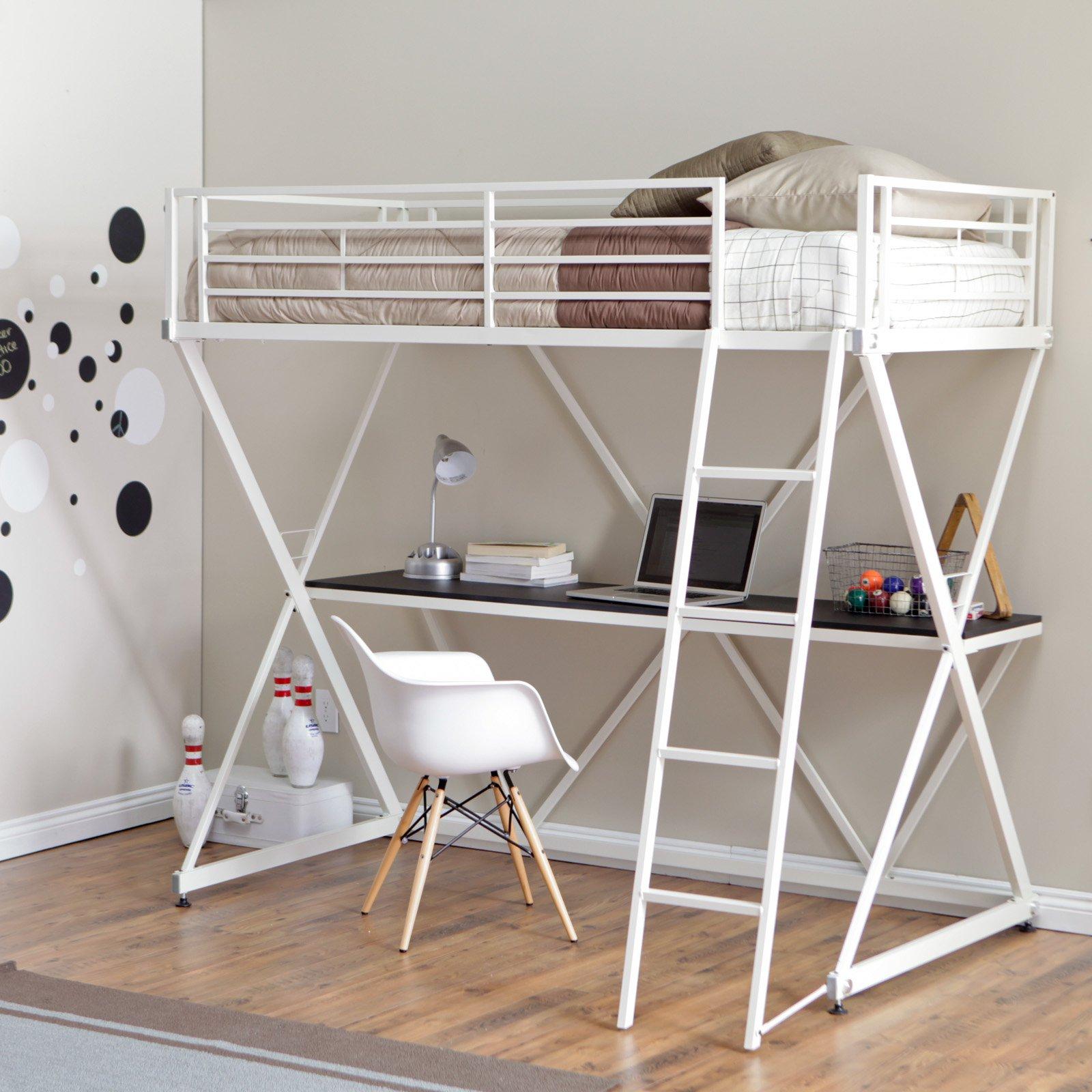 Duro Z Bunk Bed Loft With Desk White Non Kd Walmart Com