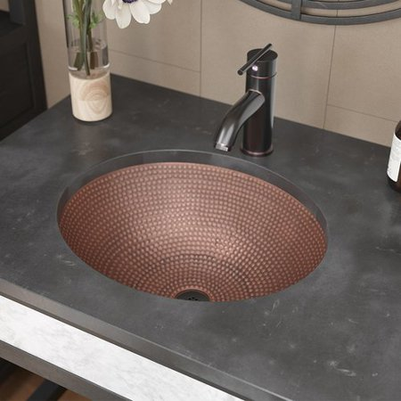 - Ren  Single Bowl Copper Oval Vessel Bathroom Sink With Drain Assembly