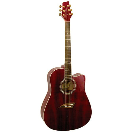 Kona Dreadnought Acoustic Guitar, High-Gloss Transparent Red Finish