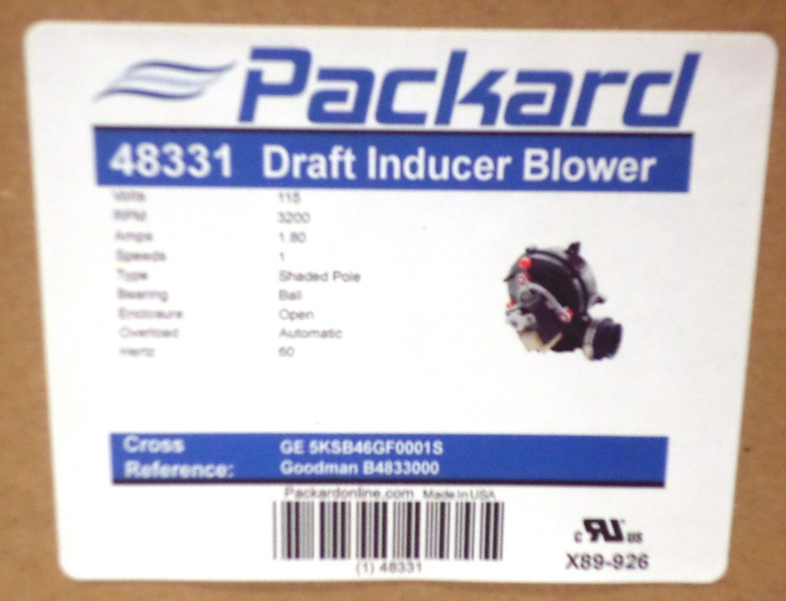 Packard 48331 induced draft furnace blower115 volt walmart publicscrutiny Choice Image