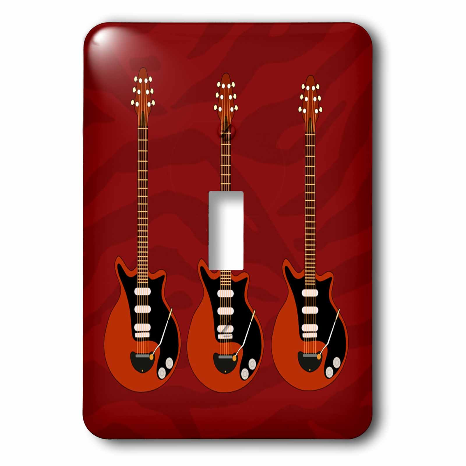 3dRose Print of 3 Guitars On Red Zebra Pattern, 2 Plug Outlet Cover