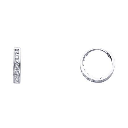 Huggie Hoop Earrings CZ Solid 14k White Gold Huggies Hoops Round CZ Style Polished Finish Small 13 mm