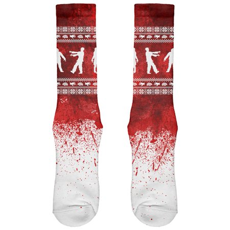 Ugly Christmas Sweater Bloody Zombie Attack Survivor All Over Soft Socks