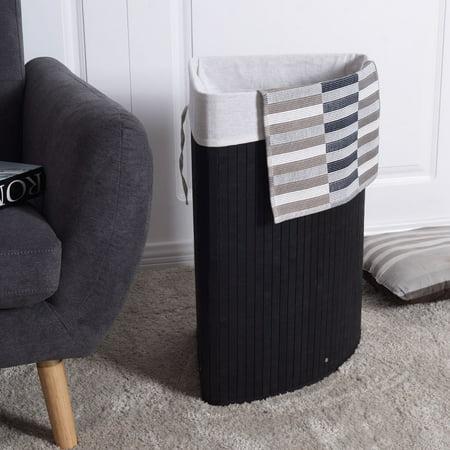 Corner Bamboo Hamper Laundry Basket - Black ()