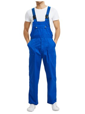 TOPTIE 8.5 Oz Men's Big and Tall Bib Overall with Tool Pockets, Work Cargo Pants-Blue-2XL