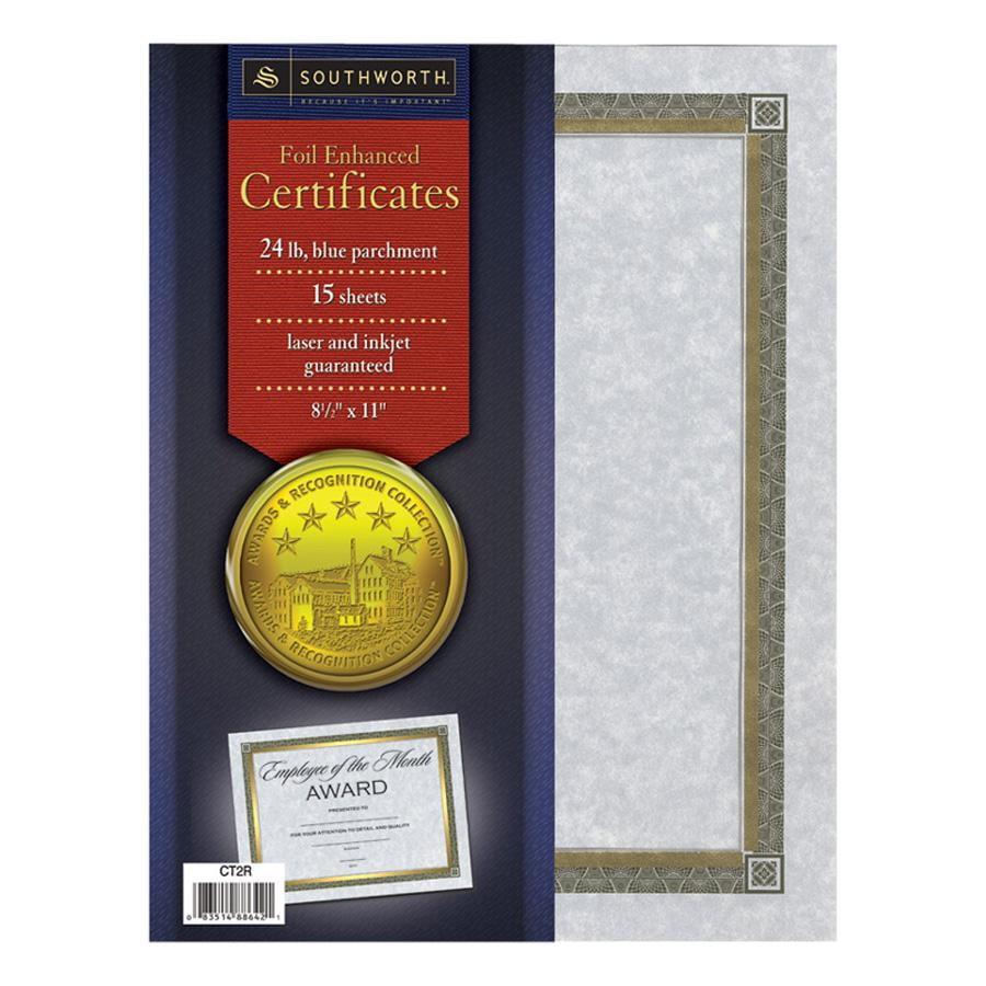 Southworth Foil Enhanced Parchment Certificates, Blue with Gold Border, 15pk