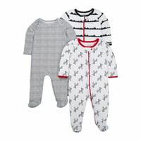 Little Star Organic Newborn Baby Boy Sleep 'N Play Footed Pajamas, 3-Pack (0/3M-6/9M)
