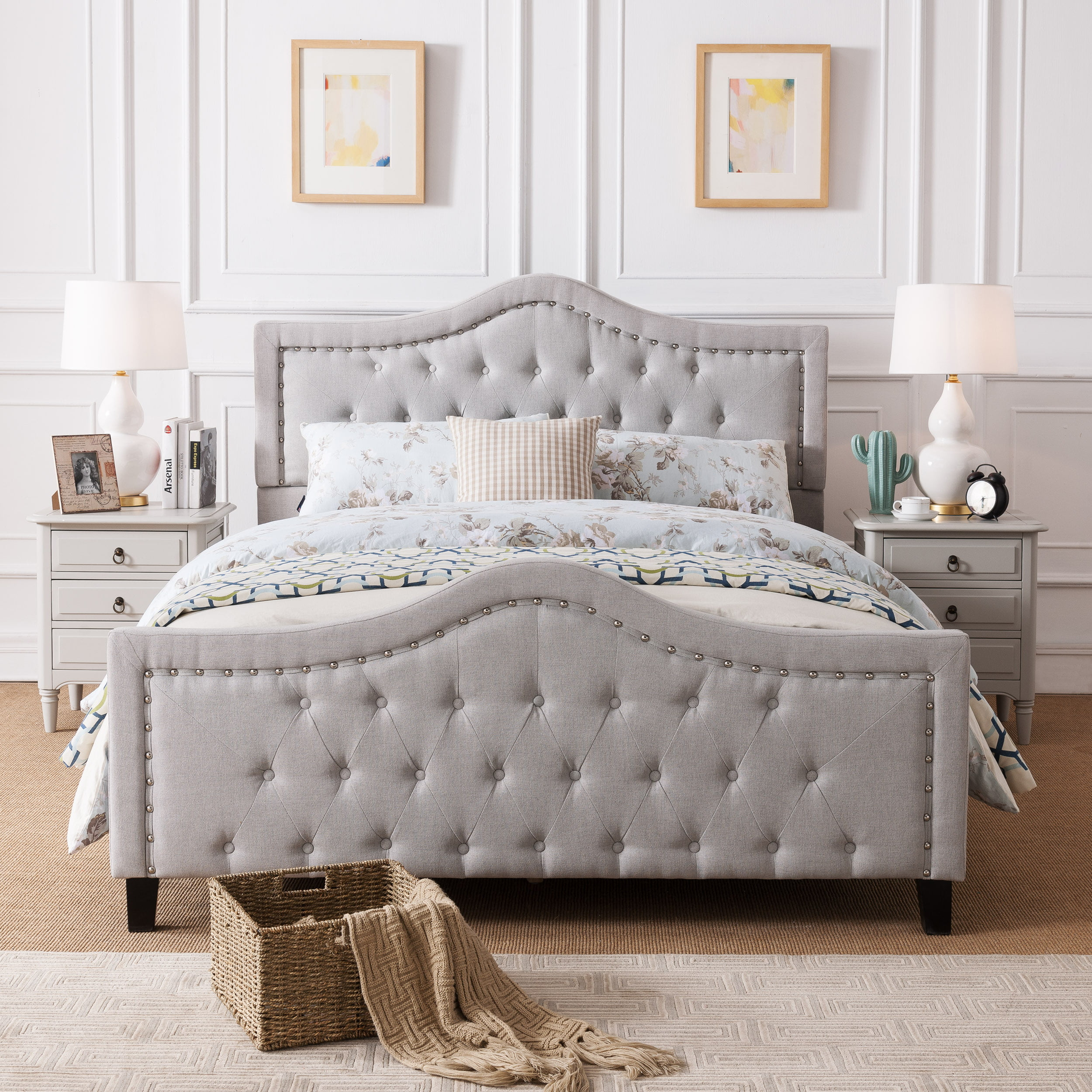 Noble House Vincent Upholstered Queen Bed, Light Grey