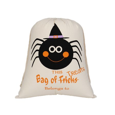 Aspire 12 PCS Halloween Durable Canvas Drawstring Bags Trick Candy Storage Reusable Present Bag - Halloween Stores Boise