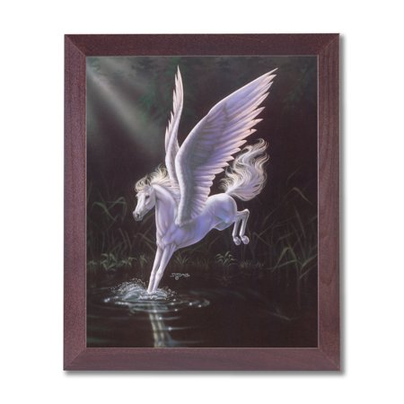 Magical Pegasus Kids Room Fairy Fantasy Wall Picture Cherry Framed Art Print