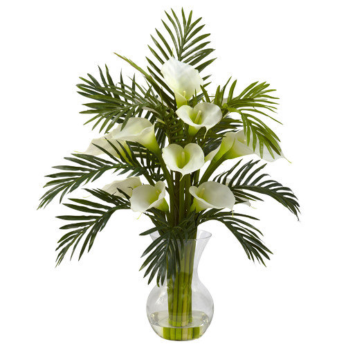 Nearly Natural Calla Lily and Palm Combo in Decorative Vase