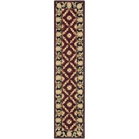 Safavieh Naples Collection Na521b Handmade Burgundy And Black Wool Runner 2 Feet 3 Inches By 10 X