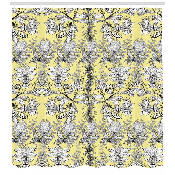 Grey And Yellow Shower Curtain Ethnic Tribal Bohem Design With Flowers Leaves Swirls Dots Image Fabric Bathroom Set Hooks Black White