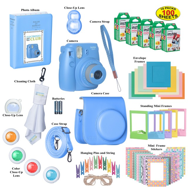 Fujifilm Instax Mini 9 Instant Film Camera Bundle with Over 15 Accessories | 100 Sheets of Instant Film + Mini Nine Leather Case + Photo Album + Lens Filters + Mini Frames + COBALT-BLUE