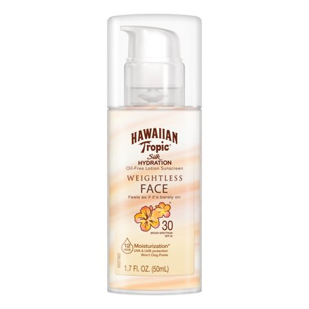 Face Sunblock - Hawaiian Tropic Silk Hydration Weightless Face Sunscreen SPF 30, 1.7 Oz