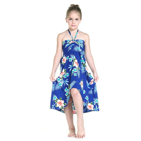 - Girl Hawaiian Butterfly Dress in Hibiscus Blue Size 6