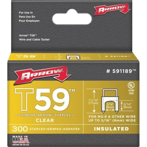Arrow 5/16-Inch Clear Insulated T59 Staples, 300 Count
