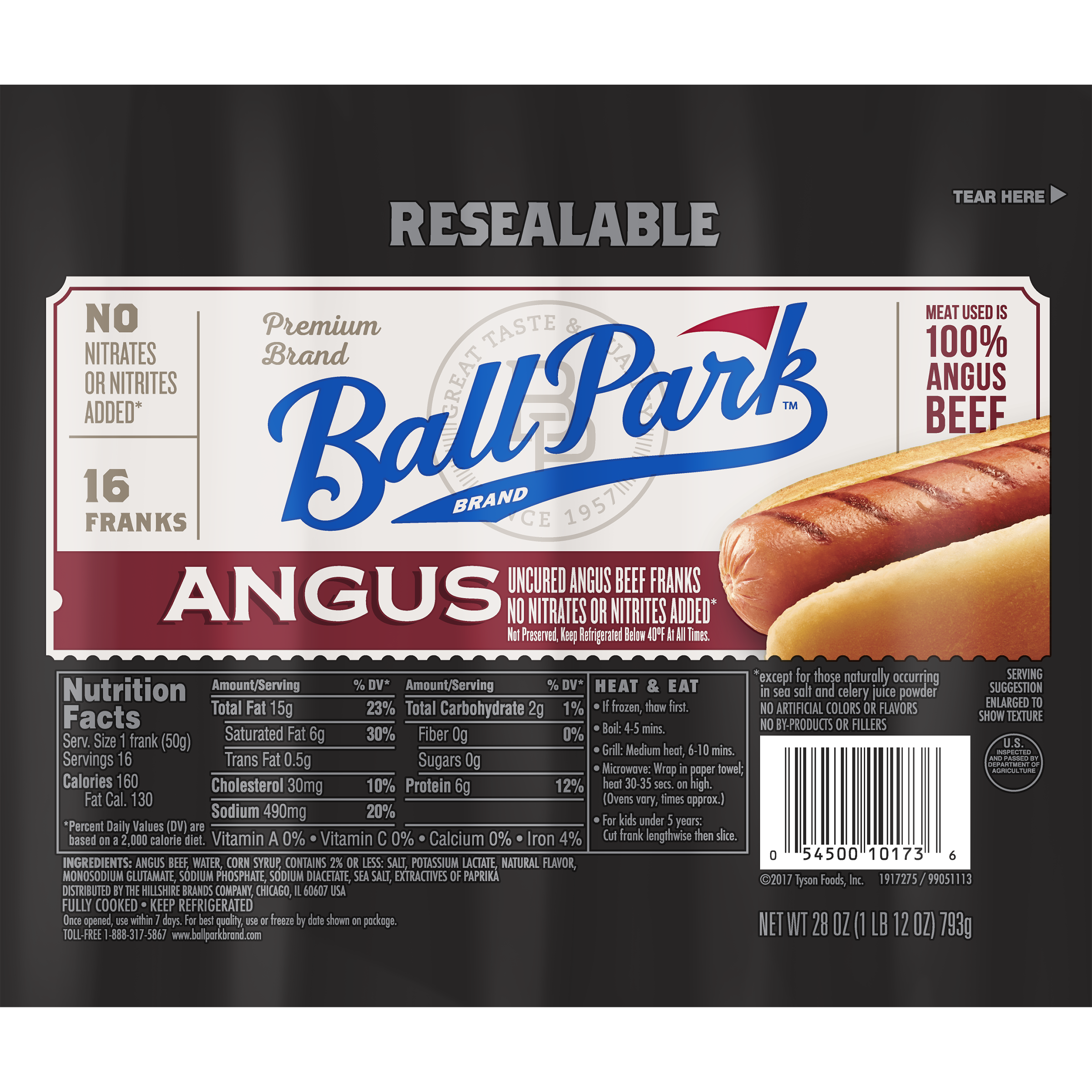 Ball Park® Angus Beef Hot Dogs, Original Length, 16 Count