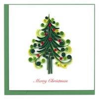 "6"" Green and White ""Merry Christmas"" Christmas Tree Square Greeting Card"